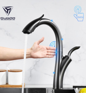 OUBAO Touch Sensor Kitchen Faucet Gunmetal Black