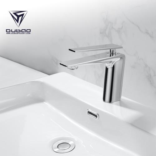 OUBAO Matte Black Bathroom Faucet Brass Low Arc for Porject Source