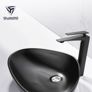 OUBAO Modern Style Lavetory Tall Vessel Sink Bahtroom Faucet High Arc