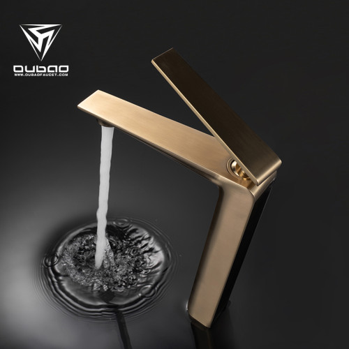 OUBAO Bathroom Vessel Sink Faucet Brushed Gold