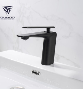 OUBAO Matte Black Bathroom Faucet Brass Low Arc for Porject Source