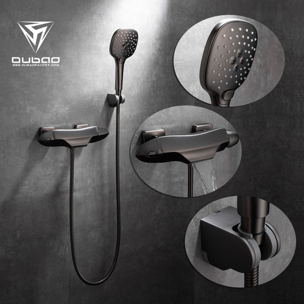 OUBAO Gunmetal Shower Faucet With Handheld