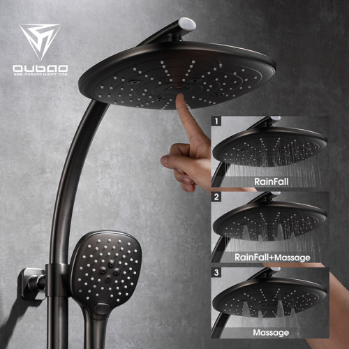 OUBAO Best Gunmetal Brass One Handle Thermostatic Rain Shower Faucet Set