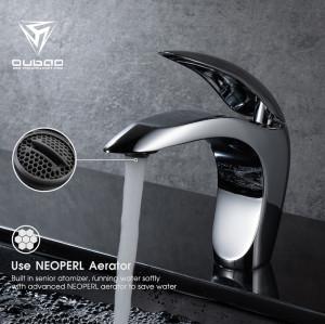 OUBAO Design Single Lever Chrome Brass Bathroom Faucet