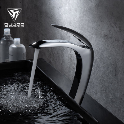OUBAO Chrome vessel sink Bathroom faucets Copper brass contemporary