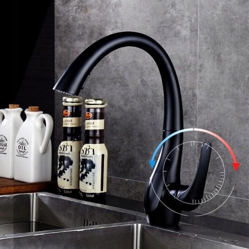 OUBAO Matte Black Kitchen Faucets High Arc Single Hole On Sale