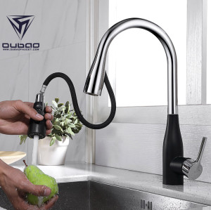 OUBAO polished hot cold water sink kitchen mixer faucet