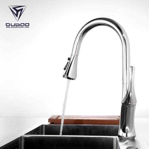 OUBAO Pull Down Kitchen Faucet Cold and Hot Water Mixer with Single Handle