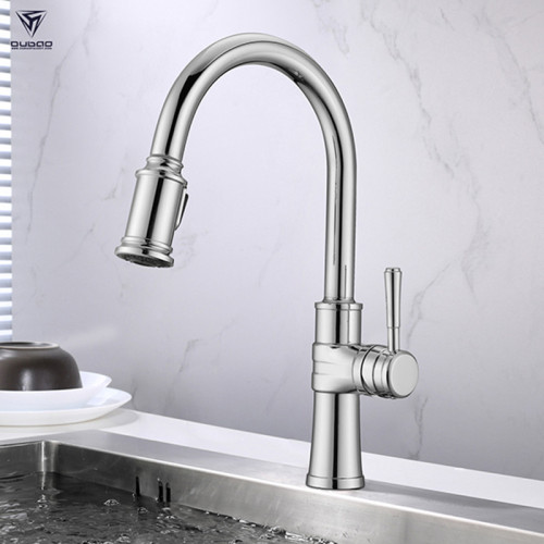 OUBAO Pull Down Kitchen Faucet Single Handle High Arc Brushed Nickel