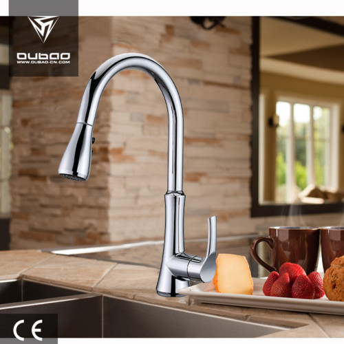 OUBAO Pull Down Kitchen Taps Luxury Brushed Nickel