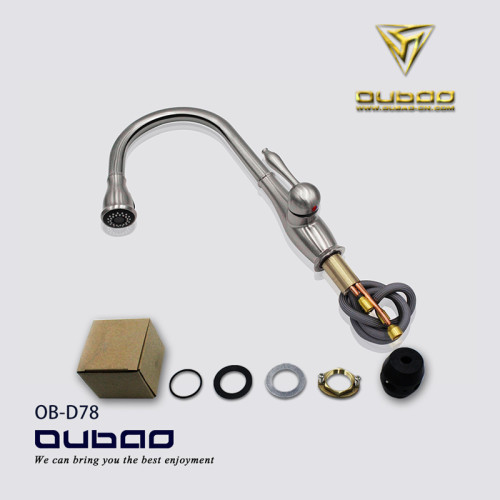 OUBAO Chrome Plating Kitchen Faucet Single Hole with Sprayer