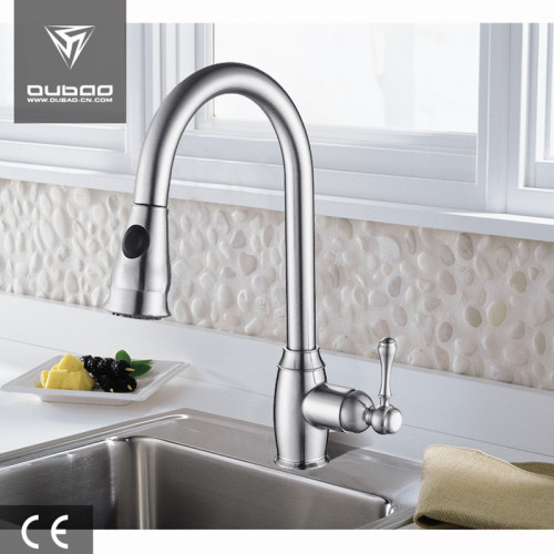 OUBAO Pull Down Kitchen Mixer Taps Single Lever Deck Mounted