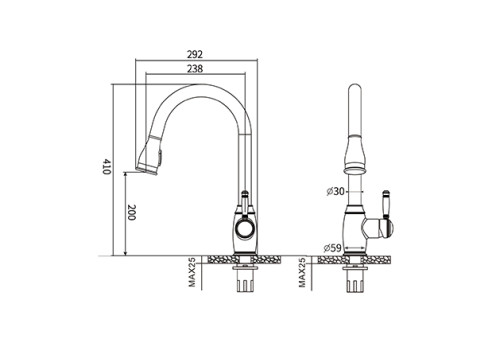 OUBAO Kitchen Sink Water Faucet With Sprayer Long Neck Bridge Style