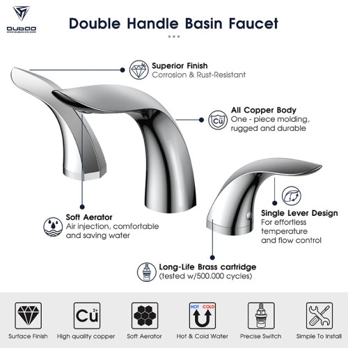 OUBAO Modern Design 8' Widespread Bathroom Faucet For Face Basin