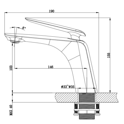 OUBAO Bathroom Basin Mixer Tap Single Lever Matte Black