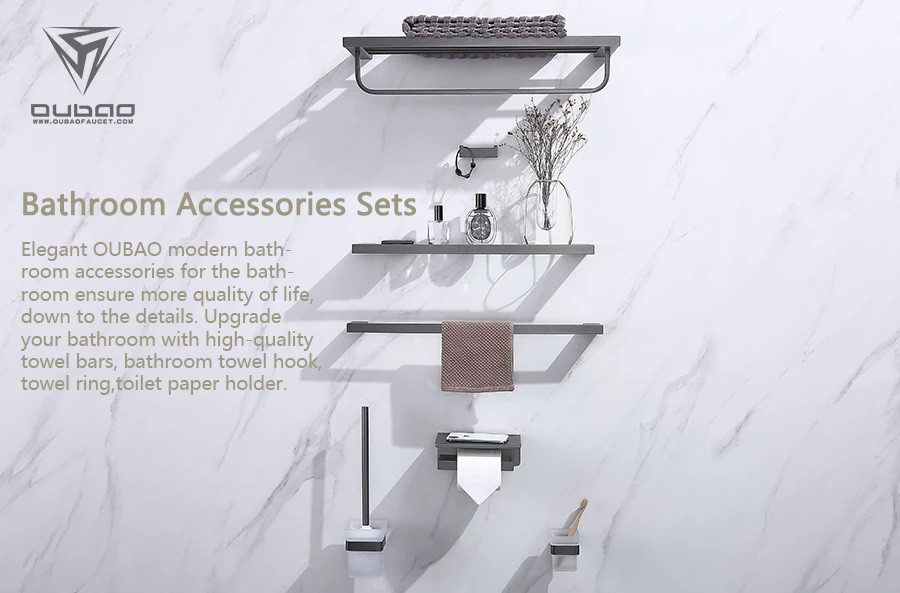Elegant OUBAO modern bathroom accessories for the bathroom ensure more quality of life, down to the details. Upgrade your bathroom with high-quality towel bars, bathroom towel hook, towel ring, toilet paper holder.
