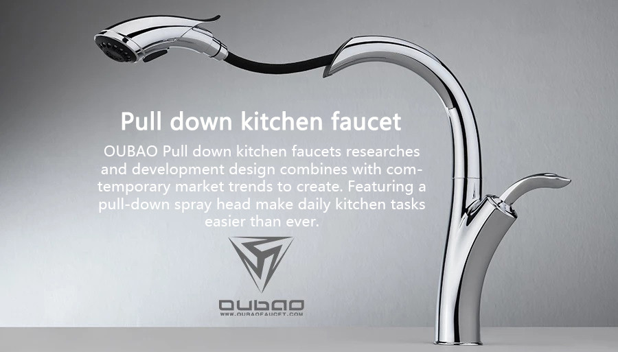 OUBAO Pull down kitchen faucets researches and development design combines with comtemporary market trends to create. Featuring a pull-down spray head make daily kitchen tasks easier than ever.
