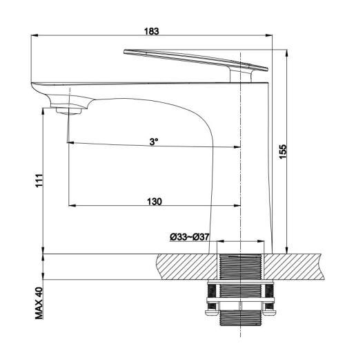 OUBAO Black Bathroom Faucet Tap Washbasin Single Handle Lever