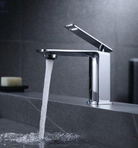 OUBAO Bathroom Faucet Single Handle Luxury Chrome Brass Basin Tap