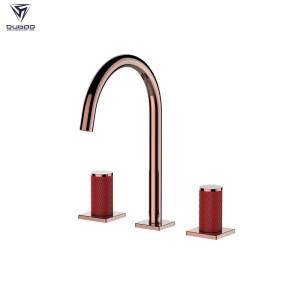OUBAO 3 Holes Basin Mixer Taps Brass High End Bathroom Faucet