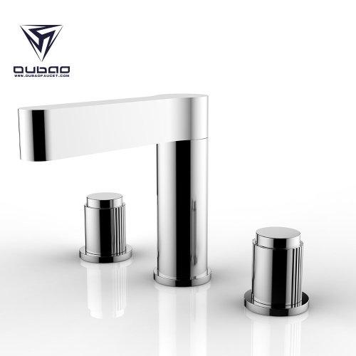 OUBAO commercial bathroom faucets modern three hole bathroom faucet