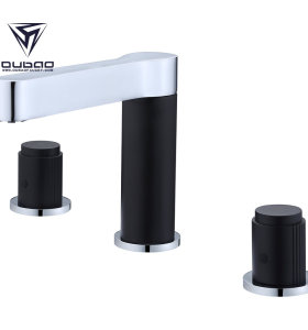 OUBAO commercial bathroom faucets modern three hole bathroom faucet