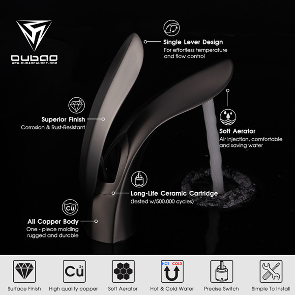OUBAO single handle bathroom faucets have an all copper body and metal handle lever.