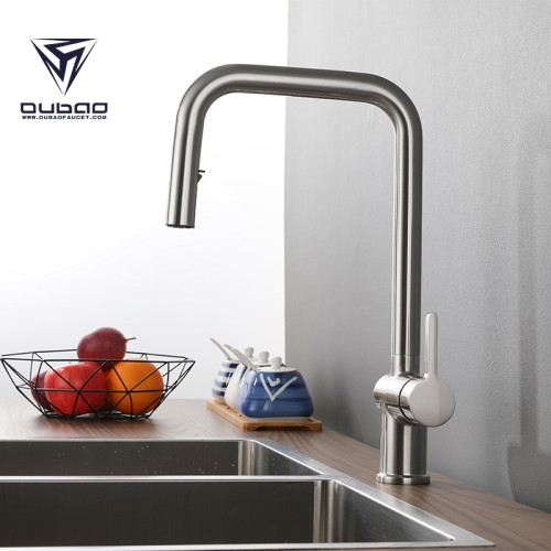 OUBAO Pull Out Kitchen Sink Faucet with Sprayer Single Handle Brushed Nickel