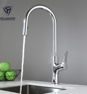 OUBAO Modern Pull Out Kitchen Sink Faucet Single Lever High Arc