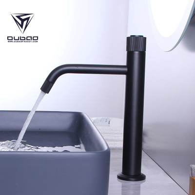 OUBAO Bathroom Vessel Sink Faucet Mixer Tap Matte Black Single Hole