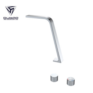 OUBAO Double Two Handle 3 Hole Solid Brass Basin Sink Faucet Tap