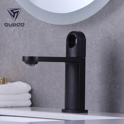 OUBAO Matte Black Bathroom Faucets Single Hole For Bathroom