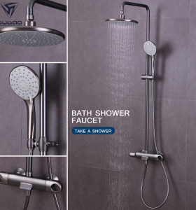 OUBAO Exposed Push button Bathroom Shower Faucet set with Temperature Control