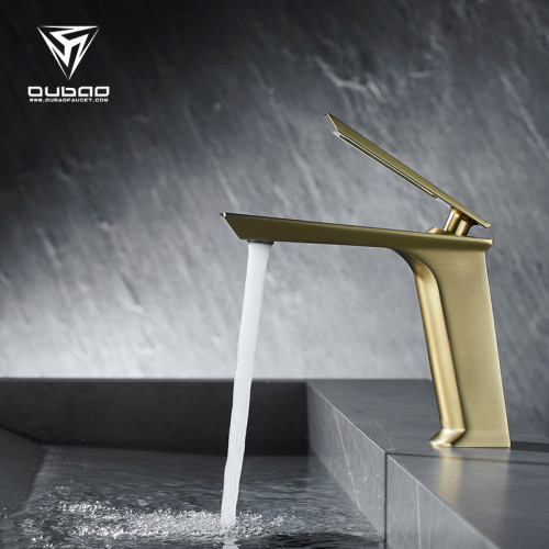 OUBAO Luxury Bathroom Wash Basin Mixer Taps Faucet Gold Plated Brass