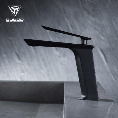 OUBAO Modern Design Bathroom Basin Mixer Taps Faucet Matte Black Single Hole Widespread