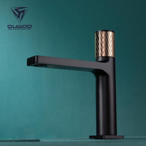 OUBAO Modern Design Bathroom Basin Sink Mixer Faucet Black And Gold Single Hole
