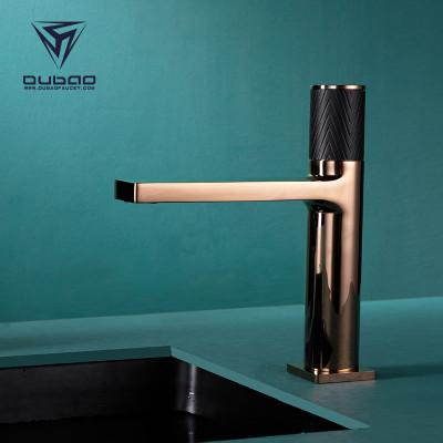 OUBAO Bathroom Wash Basin Sink Mixer Faucet Deck Mounted Gold & Black