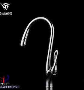 OUBAO kitchen sink pull down faucets long spout reach sprayer