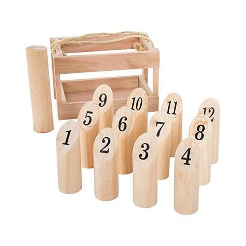 Wholesale custom Number Kubb Smite lawn Game viking bowling wooden skittles game