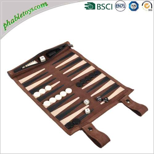 Classic Roll Up Suede Leather Reise Travel Backgammon Board Games Sets