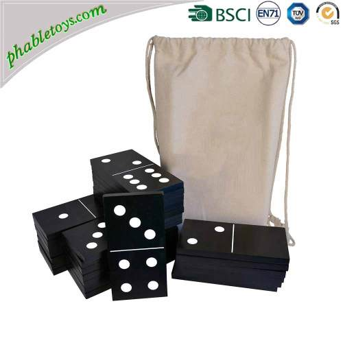 Giant Black Color Wooden 28-Piece Domino Sets With Box& Bag For Kids Education For Garden Lawn Toy Games