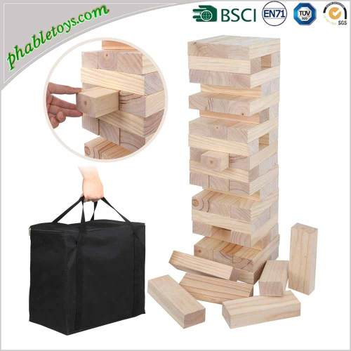 Classic Giant Natural Wooden Jenga Game / Wooden Block Stacking Games Set