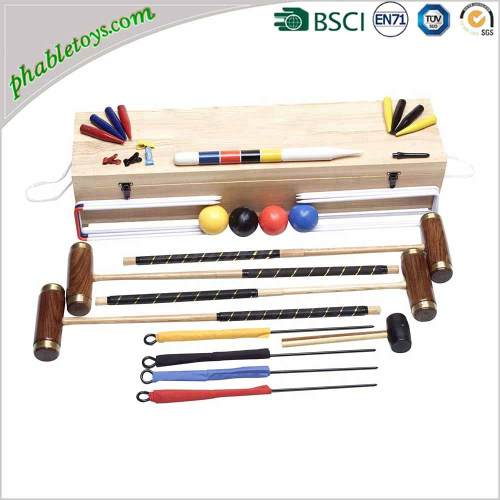 Premium 4 / 6 Players Hardwood Wooden Croquet Set with Copper Rings FOB Reference Price