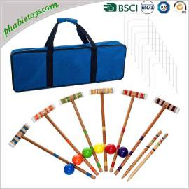Basic 4 / 6 Players Hardwood Wooden Croquet Games Sets For Beginner / Starter