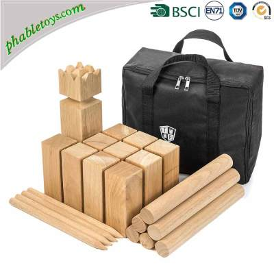 Outdoor New Zealand Pine / Rubber Wood Viking Backyard Lawn Kubb Skittles Game Set