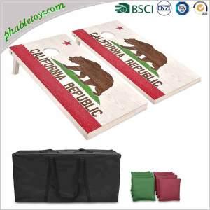 Classic Plywood Pine / Poplar Wood Cornhole Bean Bag Toss Game Set with Cornhole Board and Bean Bags