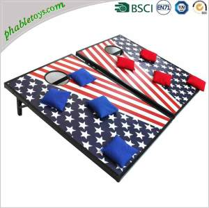 Classic Plywood Pine / Poplar Wood Cornhole Bean Bag Toss Game Set with Cornhole Board and Bean Bags