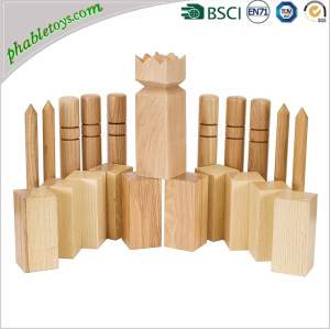 Outdoor Kids New Zealand Pine / Rubber Wooden Yard Garden Kubb Games Set