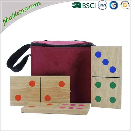 Custom Mexican Colorful Giant Wooden Dominoes Game Set For Garden Lawn Games
