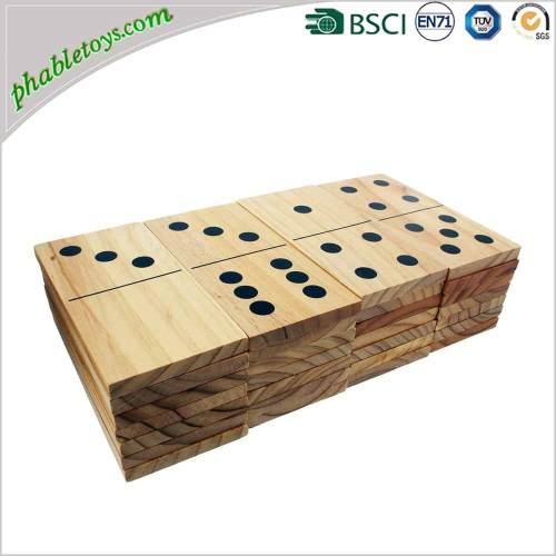 28 Pieces Extra Large Outdoor Pine Wooden Domino / Dominoes Set For Yard Lawn Games